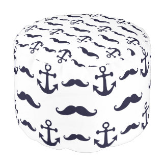 Mustache and anchor pouf