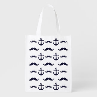 Mustache and anchor reusable grocery bag