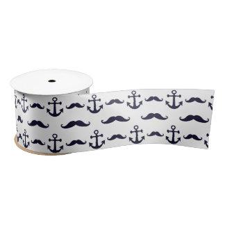 Mustache and anchor satin ribbon