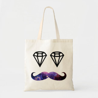 Mustache and diamonds budget tote bag