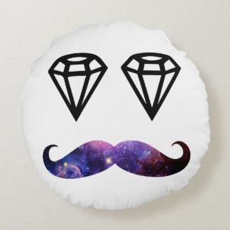 Mustache and diamonds round pillow