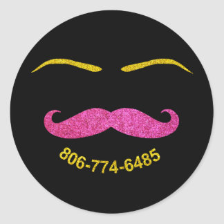Mustache and Eyebrows - custom design request Classic Round Sticker
