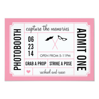 """Mustache and Glasses Props Photobooth Ticket 3.5"""" X 5"""" Invitation Card"""