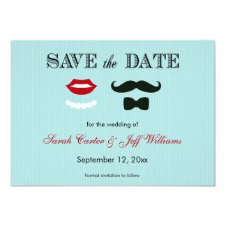"Mustache and Lips Aqua Stripe Save the Date Cards 5"" X 7"" Invitation Card"