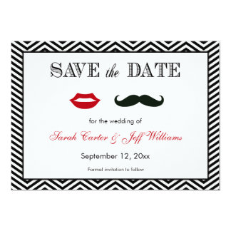 "Mustache and Lips Chevron Save the Date Cards 5"" X 7"" Invitation Card"