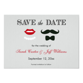 """Mustache and Lips Grey Stripe Save the Date Cards 5"""" X 7"""" Invitation Card"""