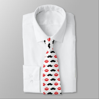 Mustache and Lips Red & Black Pattern Tie