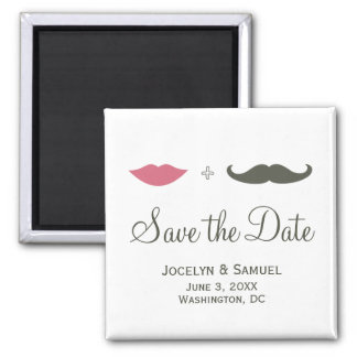 Mustache and Lips Save the Date Magnet