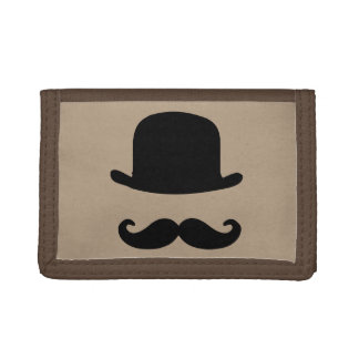 Mustache and Top Hat Tri-Fold Nylon Wallet
