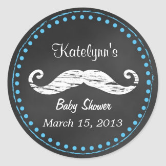 Mustache Baby Shower Favor Sticker