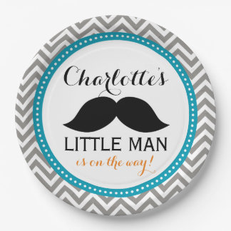 Mustache Baby Shower Paper Plates, Little Man Blue 9 Inch Paper Plate