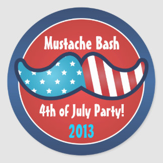 Mustache Bash 4th of July Party Stickers