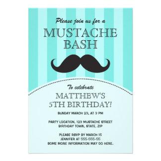 Mustache bash birthday party invitation aqua