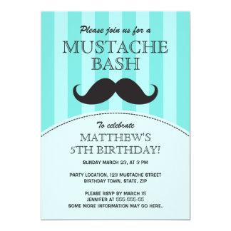 """Mustache bash birthday party invitation, aqua 5"""" x 7"""" invitation card"""