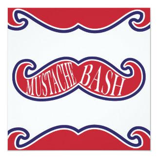 """Mustache Bash - Red, White and Blue 5.25"""" Square Invitation Card"""