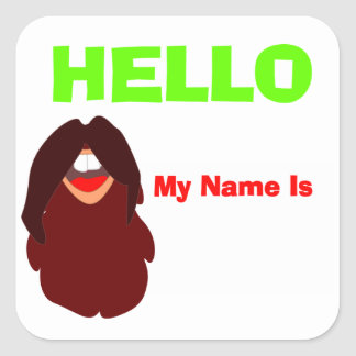 Mustache Beard Party Name Tag Square Sticker