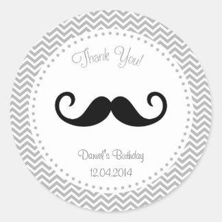 Mustache Birthday Sticker Chevron
