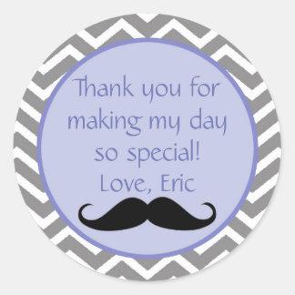 Mustache Blue Label Thank You Round Sticker