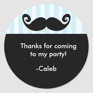 MUSTACHE Blue Stripe Black birthday party sticker