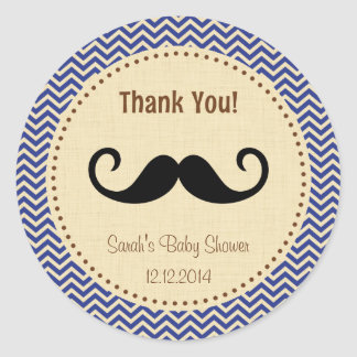 Mustache Boy Baby Shower Sticker Blue Chevron