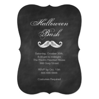 Mustache Chalkboard Halloween Party Invitation
