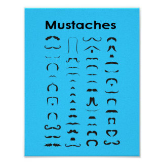 Mustache Chart Poster  Funny Gift