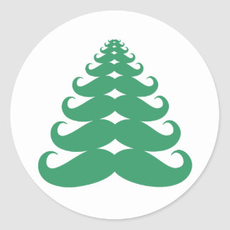 Mustache Christmas Tree Round Sticker