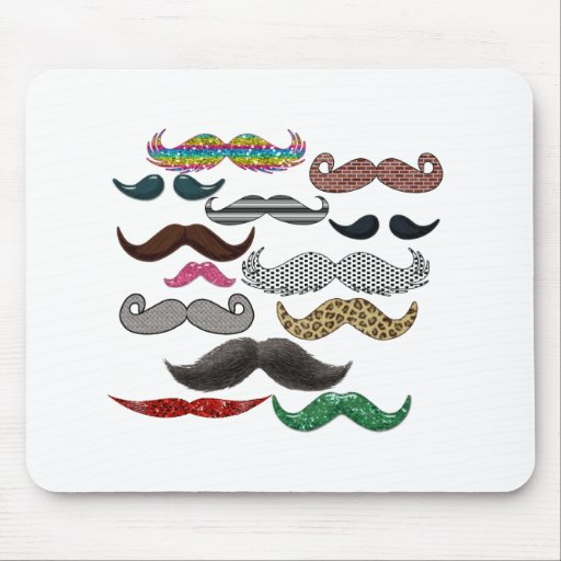 Mustache Collage Mustaches Popular Add Color Text Mouse Pads