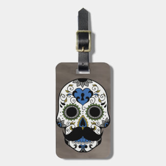 Mustache Day of the Dead Sugar Skull Luggage Tag