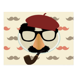 Mustache Disguise Glasses Pipe Beret Face Postcard