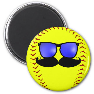 Mustache Fastpitch Softball Magnet