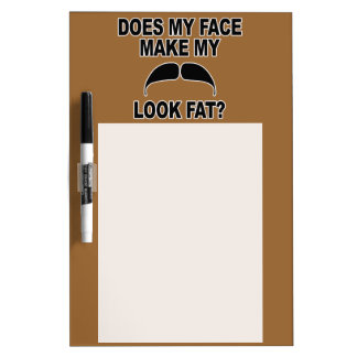Mustache Fat Dry Erase White Board