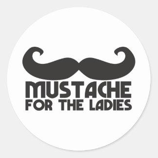 Mustache for the ladies round sticker