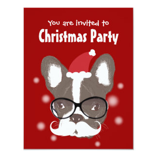 Mustache French Bulldog Christmas Party Invitation
