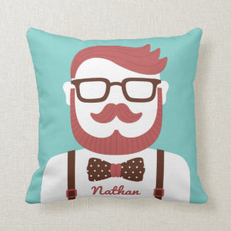 Mustache Gentleman Glasses and Bowtie Throw Pillow