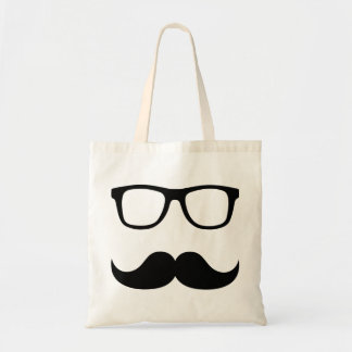 Mustache glasses tote bag