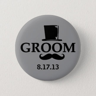 Mustache Groom 2 Inch Round Button