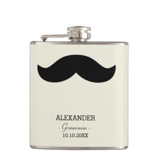 Mustache Groomsman Gift Custom Name Flask