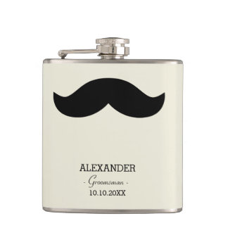 Mustache Groomsman Gift Custom Name Hip Flask