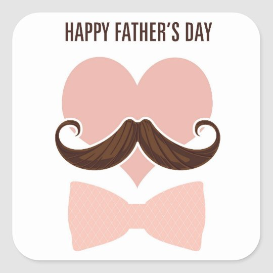 Mustache happy father's day from you little girl square sticker