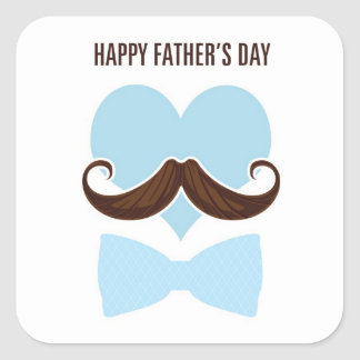 Mustache happy father's day from you little I go Square Sticker