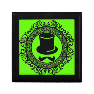 mustache hat hipster keepsake box with trim