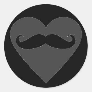 Mustache Heart Classic Round Sticker