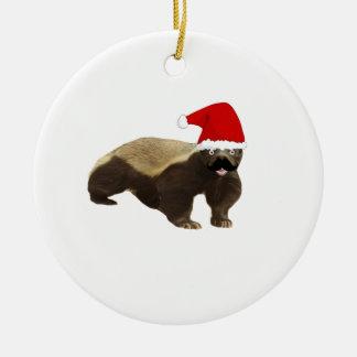 Mustache Honey Badger Santa Ceramic Ornament