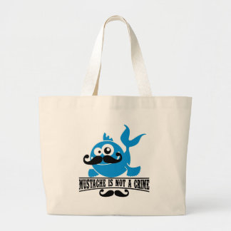 mustache is not a crime large tote bag