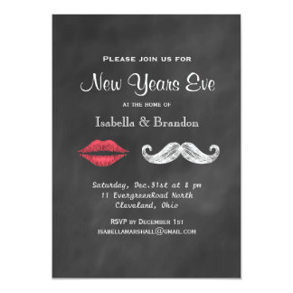 Mustache & Lips New Years Eve Party Invitation