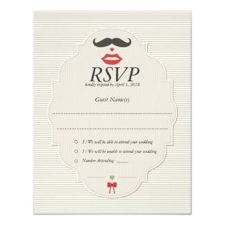 "Mustache Lips Retro RSVP Wedding Card 4.25"" X 5.5"" Invitation Card"