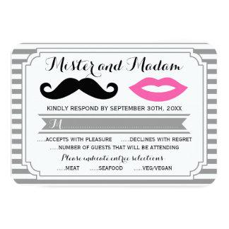 "Mustache & Lips RSVP Response Cards 3.5"" X 5"" Invitation Card"