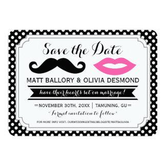"Mustache & Lips Save the Date 5"" X 7"" Invitation Card"