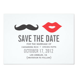 "Mustache & Lips Save The Date Card 5"" X 7"" Invitation Card"